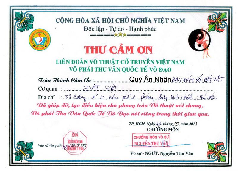 Thư cám ơn từ Liên đoàn võ thuật cổ truyền Việt Nam đến Công ty bảo vệ Đất Việt