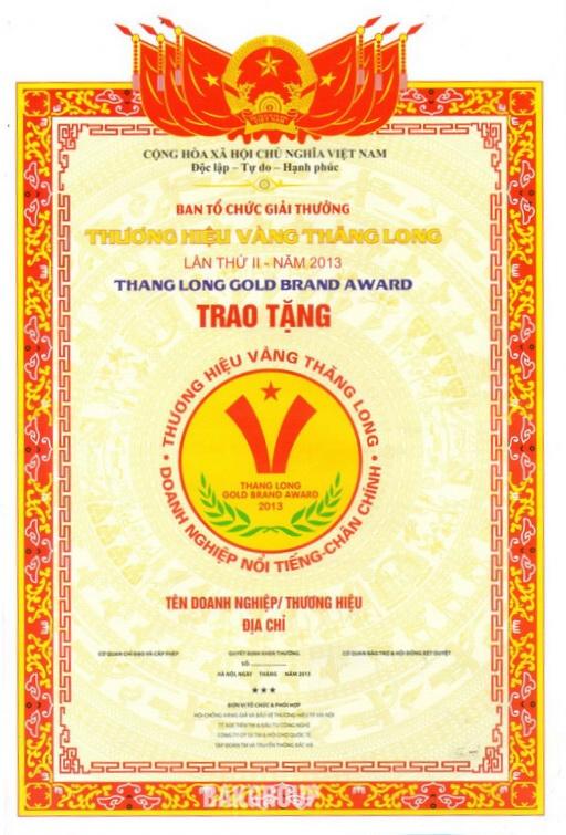 Giải thưởng thương hiệu vàng Thăng Long Lần II năm 2013